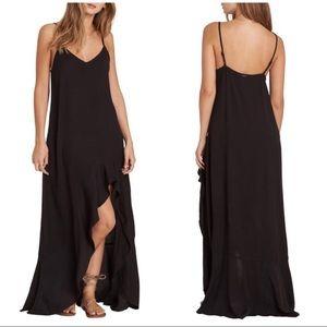Billabong Kick It Up Black Ruffle Maxi Dress